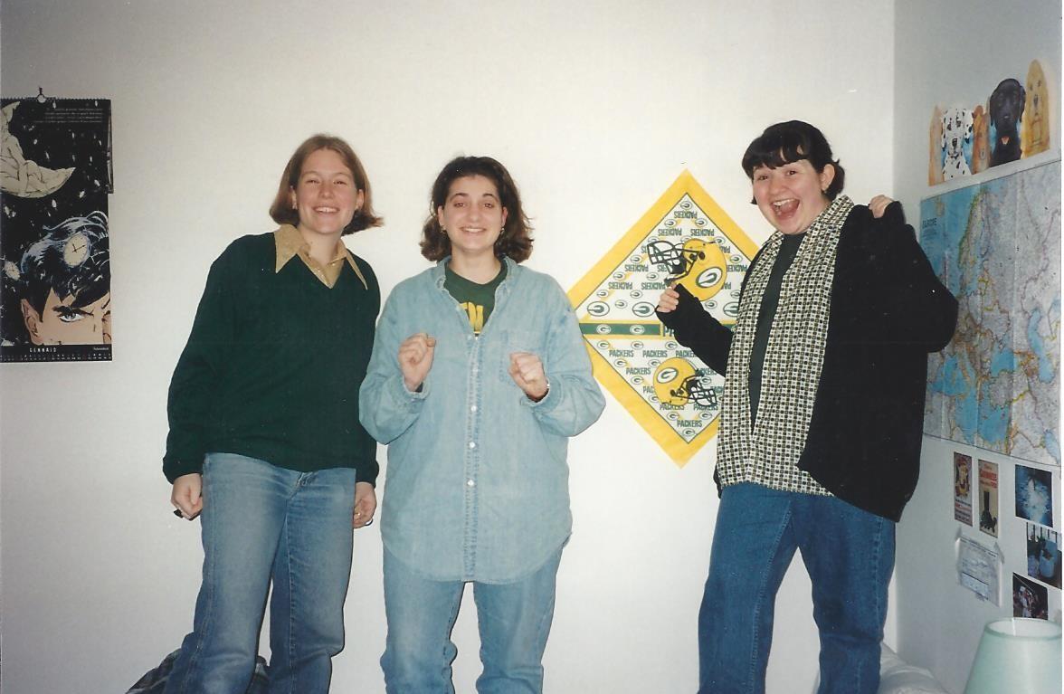 Kat Guidi (Meyer), Kelly Blank, Jenn Phillips Bacher Jan 1997 Go Packers! 001